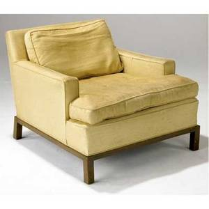 Edward wormley  dunbar easy chair upholstered in cream fabric on walnut legs 27 x 33 x 34