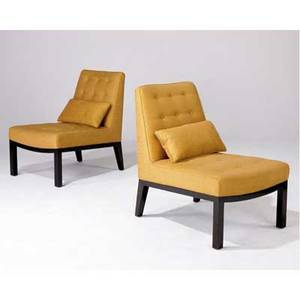 Edward wormley  dunbar pair of slipper chairs upholstered in tan fabric on dark stained wood frames dunbar metal tags 31 x 22 x 29