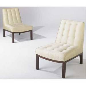 Edward wormley  dunbar pair of slipper chairs upholstered in cream moir fabric on walnut frames dunbar brass tags 31 12 x 23 x 33