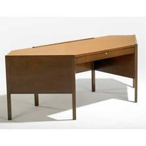 Edward wormley  dunbar mahogany hexagonal desk with single locking drawer dunbar metal tag 29 x 82 x 31