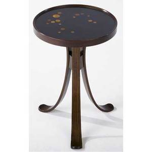 Edward wormley  dunbar constellation occasional table with circular wood inlays to black lacquered top on molded walnut base dunbar brass tag 19 x 13