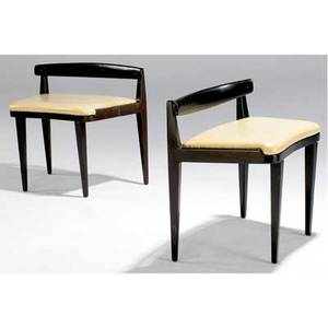 Edward wormley  dunbar pair of low chairs with cream leather cushions on black enameled wooden frames dunbar metal tags 22 x 24 12 x 14