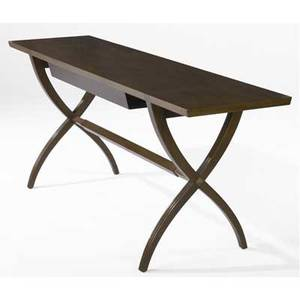Edward wormley  dunbar walnut console table with single drawer on crossleg base brass dunbar tag 29 x 72 x 19