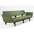 Edward wormley  dunbar gondola sofa upholstered in green and blue tapestry fabric on walnut frame dunbar fabric label 32 x 110 12 x 31