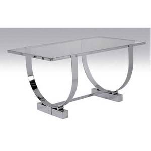 Donald deskey console table with glass top over polished chrome base 27 x 54 x 39