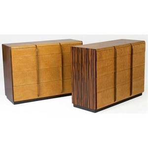 Gilbert rhode  herman miller pair of burled maple and macassar ebony fourdrawer dressers herman miller foil labels each 34 x 46 x 19