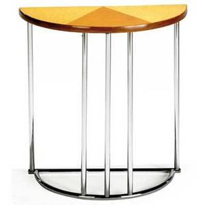 Gilbert rhode tubular steel semicircular console table with cork top on tubular chromed steel base 30 x 28 x 14
