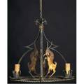 Wilhelm hunt diederich wroughtiron hanging fixture with ram silhouettes and three candleholders 26 x 21 dia