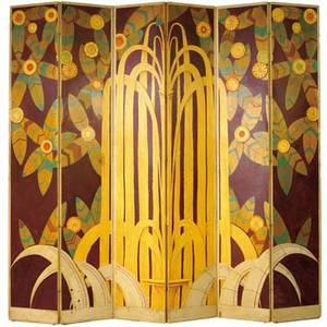 Art deco sixpanel wooden screen with original handpainted paper covering as shown 93 x 94 each panel 16 12