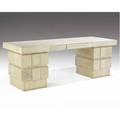 R  y augousti doublepedestal fivedrawer desk covered in natural shagreen with inset parchment blotter branded mark 30 x 84 x 31 12