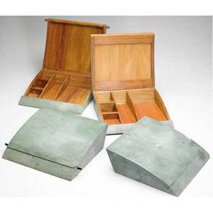 R  y augousti set of four shagreencovered vanity boxes with interior dividers each 3 x 10 12 x 11