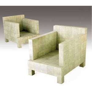 R  y augousti pair of shagreen club chairs each 28 x 26 x 34