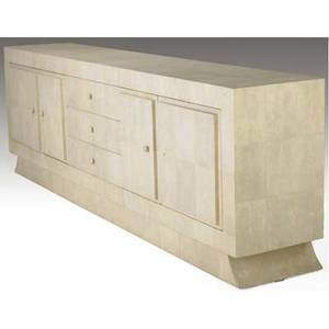 R  y augousti cream shagreen credenza with three drawers and four doors enclosing interior shelves 36 x 110 x 21