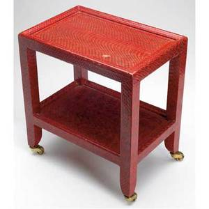 Karl springer telephone table covered in red python skin on brass casters 1974 signed and dated leather label 14 x 12 34 x 9