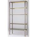 Karl springer steel and brass etagere with smoked glass shelves 84 x 44 x 16