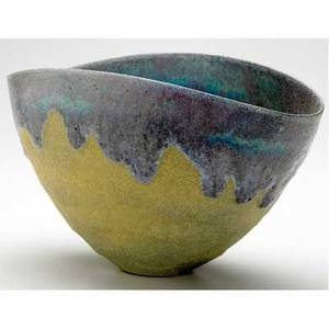Natzler early folded bowl covered in purple and turquoise flowing lava glaze on a frothy ochre ground signed g  o natzler 6 x 10
