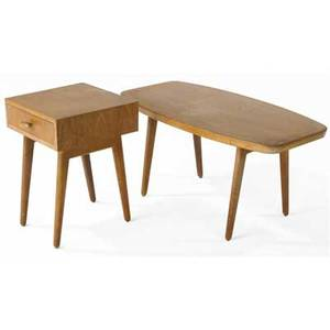Oscar stonorov and will von moltke bleached mahogany coffee table and nightstand coffee table 19 12 x 39 12 x 20 12 nightstand 23 x 16 x 16