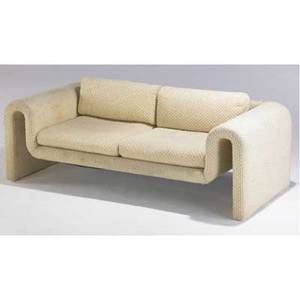 Milo baughman sofa upholstered in cream chenille 24 x 75 x 32