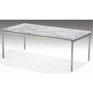 Knoll coffee table with white marble top on steel base 17 x 45 x 23