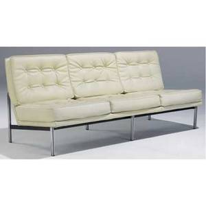 Knoll sofa upholstered in cream tufted leather on parallel bar steel frame 30 12 x 74 x 30