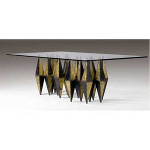 Paul evans exceptional dining table with beveled plate glass top over twopiece base with diamondshaped patinated and gilded steel components 29 x 96 x 48