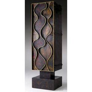 Paul evans vertical welded steel wavyfront cabinet with patinated and gilded door front enclosing painted interior with drawers and shelves on pedestal base 84 x 24 x 21 12