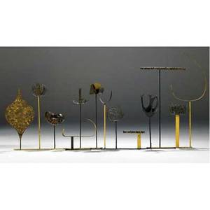 Paul evans welded and patinated steel wallhanging sculpture with goldleaf details 42 12 x 71 x 7