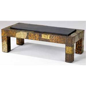 Paul evans coffee table covered in copper bronze and pewter patchwork with inset slate top 15 12 x 48 x 22