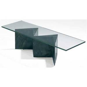 Paul evans coffee table with plate glass top over welded patinated steel base 17 x 60 x 20