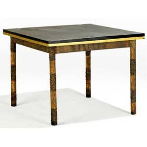 Paul evans low table with slate top and gilded apron on welded patinated steel base 25 x 32 sq