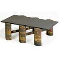 Paul evans coffee table with slate top over patinated welded steel base 16 x 48 x 24