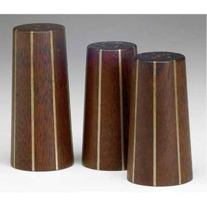Paul evans and phillip lloyd powell set of three stacked walnut and pewter shakers largest 3 12 x 1 12