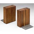 Paul evans and phillip lloyd powell pair of stacked walnut and pewter bookends each 6 12 x 4 12 x 4 14