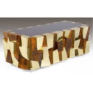 Paul evans cityscape desk in burlwood veneer and polished bronze patchwork with burgundy lacquered top 29 12 x 85 12 x 40