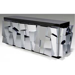 Paul evans credenza with brown lacquered top over two chromed steel doors 32 x 81 12 x 24 14