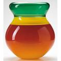 Sonja blomdahl blown glass vase with cupped rim in green yellow shaded red and clear layers marked sonja b7692 14 x 10 12