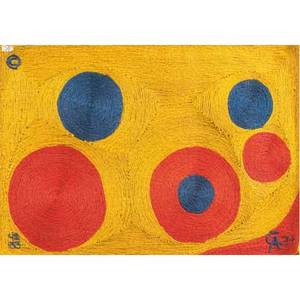 Alexander calder tapestry sun in maguey fiber with abstract design in red and blue on golden ground 1974 bon art tag signed ca 74 and numbered 42100 4 x 6