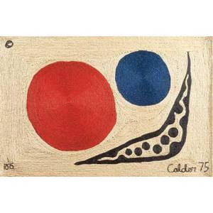 Alexander calder tapestry moon in maguey fiber with abstract design in red blue and black 1975 bon art tag signed calder 75 and numbered 1100 5 x 7