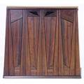 Wharton esherick padouk victrola cabinet with two pullout counter slabs and two exterior folding doors enclosing two cabinet doors single drawer and six record holders each carved with abstract pr