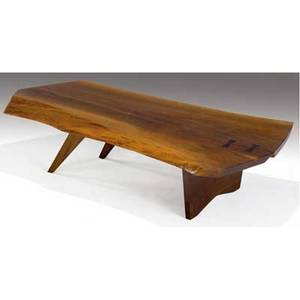 George nakashima slab coffee table the walnut top with two rosewood butterfly keys provenance available marked with clients name 13 x 56 x 31 12