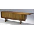 George nakashima walnut credenza with dovetailed freeedge top overhanging two grilled sliding doors backed in pandanus cloth enclosing shelves on base 1960 a very rare form accompanied by a cop