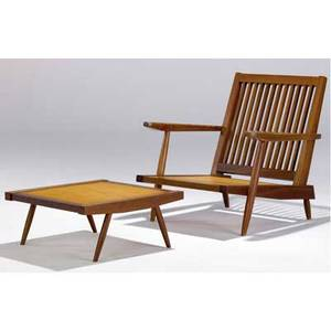 George nakashima walnut cushion chair with arms and ottoman provenance available chair 30 12 x 30 12 x 32 ottoman 10 12 x 24 sq