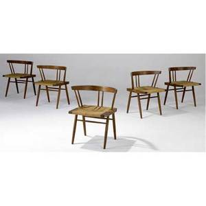 George nakashima set of five walnut grassseated chairs provenance available 27 x 24 x 18