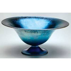 Steuben large blue aurene glass footed centerbowl etched steuben aurene 6058 6 x 12 14