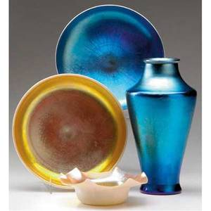 Steuben four items blue aurene glass vase and three calcite bowls with blue or gold interior vase etched steuben aurene 2144 vase 8 bowls 6 34 and 5 dia