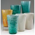 Durand six cluthra glass flaring vases in white greenblue and orange all marked 8 14
