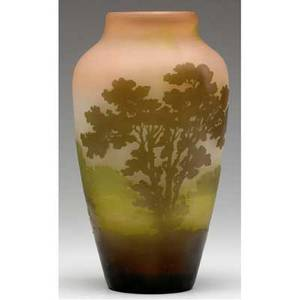 Galle cameo glass vase with a misty landscape in plum olive and lemon signed galle on the body 10 x 5 12