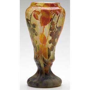 Daum colorful cameo glass footed vase with black berries and amber leaves signed daum nancy on body 10 x 5