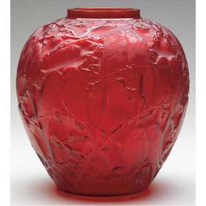Rene lalique vase perruches c 1919 in bright red glass drilled hole on base m p 410 no 876 etched r lalique france on collar signed r lalique on bottom 10 12 x 9