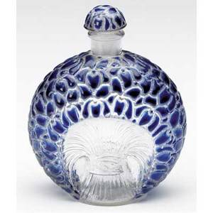 Rene lalique perfume bottle for gabilla la violette c 1925 in clear and frosted glass with violet enamel small chip to tip of dauber m p 940 no 2 molded r lalique 3 14